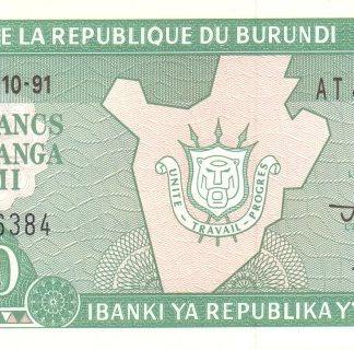 Burundi 10 Frank 1991 UNC