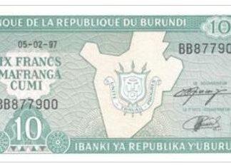 Burundi 10 Frank 1997 UNC