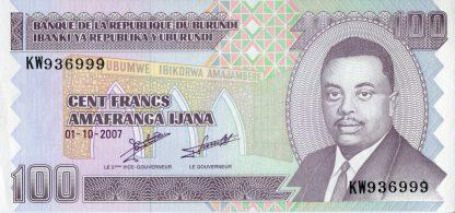 Burundi 100 Frank 2007 UNC