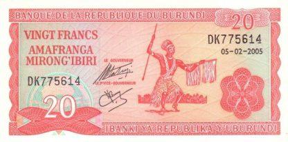 Burundi 20 Frank 2005 UNC
