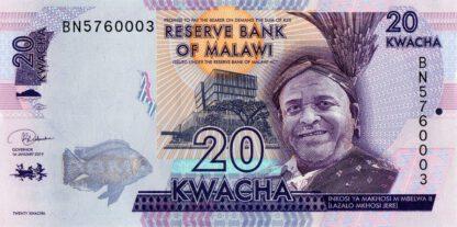 Malawi 20 Kwacha 2019 UNC