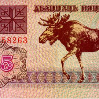 Belarus 25 Roebels 1992 UNC
