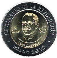 Mexico 5 Pesos 2009 UNC