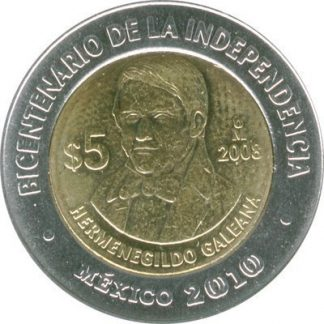 Mexico 5 Pesos 2008 UNC