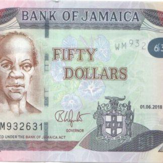 Jamaica 50 Dollar 2018 UNC