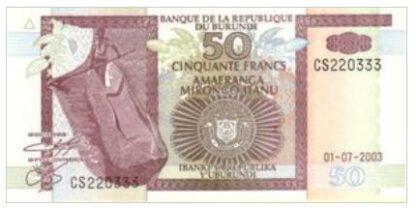 Burundi 50 Frank 2003 UNC