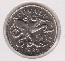 Tuvalu 50 Cent 1985 UNC