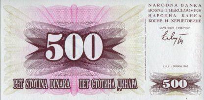 Bosnie Herzegovina500 Dinara 1992 UNC