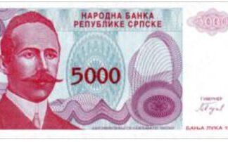 Bosnië-Herzegovina 5000 Dinars 1993 UNC