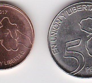 Set van 2 munten 1 en 5 pesos UNC